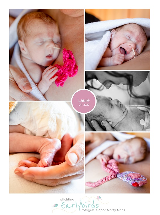 Laure prematuur geboren met 25 weken, tweeling, vlindertje, buidelen, sonde
