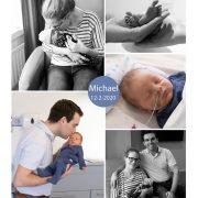 Michael prematuur geboren met 35 weken en 1 dag, gebroken vliezen, Elkerliek, longrijping, weeenremmers, couveuse, sonde