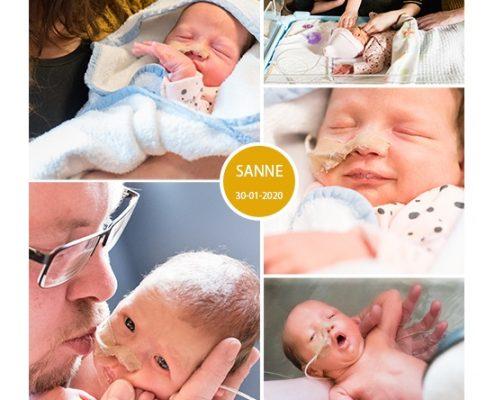 Sanne prematuur geboren met 31 weken en 4 dagen, gebroken vliezen, spoedkeizersnede, couveuse, sonde