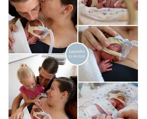 Leandro prematuur geboren met 25 weken en 5 dagen, placenta previa totalis, longrijping, weeenremmers, CTG, MMC, CPAP, sonde, buidelen