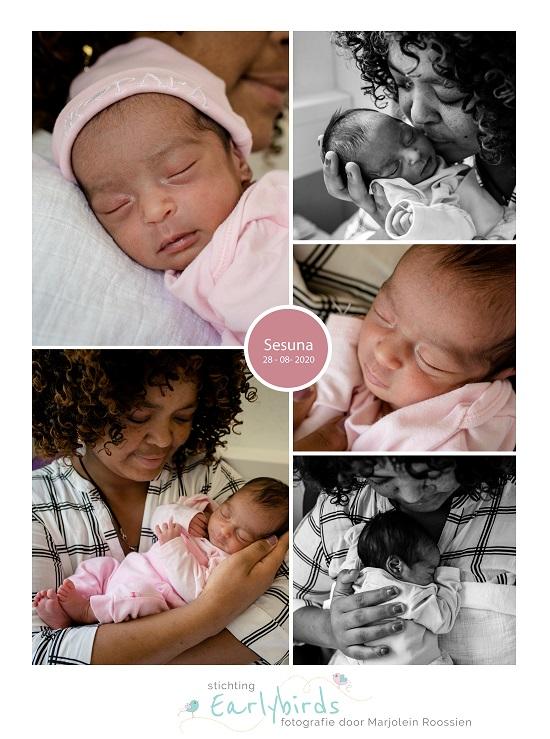Sesuna prematuur geboren met 34 weken, knuffelen, vroeggeboorte