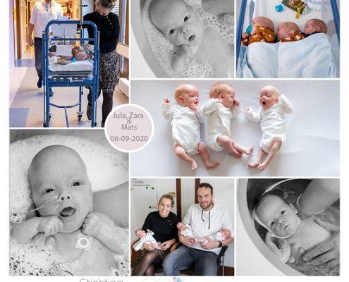 Mats, Zara en Jula prematuur geboren met 27 weken en 6 dagen, drieling, Isala Zwolle, weeen, nicu, UMCG, ZGT Almelo, sonde, badderen