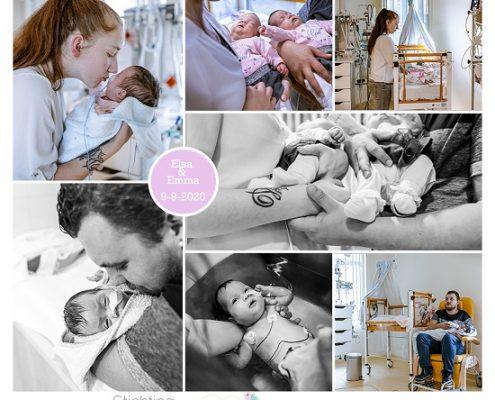 Elsa & Emma prematuur geboren met 28 weken, tweeling, Isala, gebroken vliezen, longrijping, stuitligging, keizersnede, ruggenprik, NICU, badderen